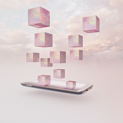 Internet of Things「Pink cubes rising out of mobile phone into sky」:スマホ壁紙(1)