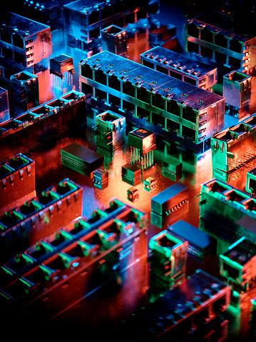 Mother Board「Microchip Circuit Board Resembling Mini City at Night」:スマホ壁紙(17)