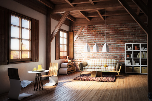 Plaid「Cozy and Rustic Home Interior」:スマホ壁紙(13)