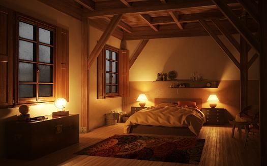Dusk「Cozy and Rustic Bedroom (Night)」:スマホ壁紙(8)