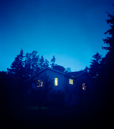 In Silhouette「House At Dusk With Illuminated Windows」:スマホ壁紙(14)