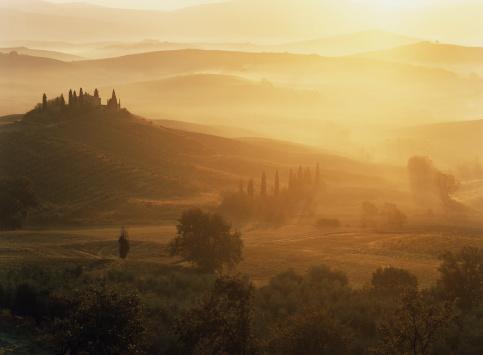 Val d'Orcia「Classic Tuscany Autumn landscape」:スマホ壁紙(12)