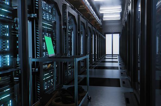 Data Center「Laptop inside a server room data center - with Chroma Key」:スマホ壁紙(15)