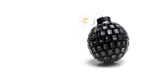 Destruction「Landscape lit computer bomb with copy space」:スマホ壁紙(13)
