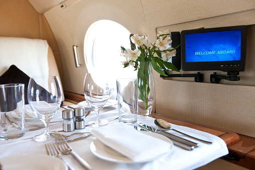 Passenger Cabin「A Luxury Dinner for two onboard a Jet.」:スマホ壁紙(7)