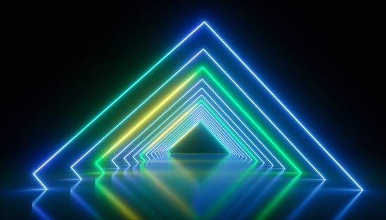 Arch - Architectural Feature「A square shape made of a neon beam in an empty room.」:スマホ壁紙(14)