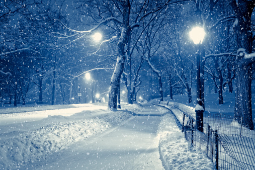 Toned Image「Central park by night during snow storm」:スマホ壁紙(10)