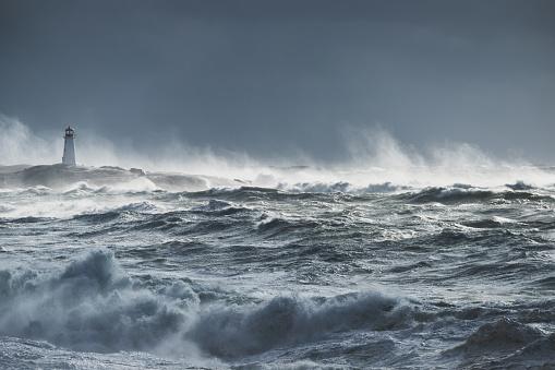Hurricane - Storm「Turbulent ocean lighthouse」:スマホ壁紙(2)