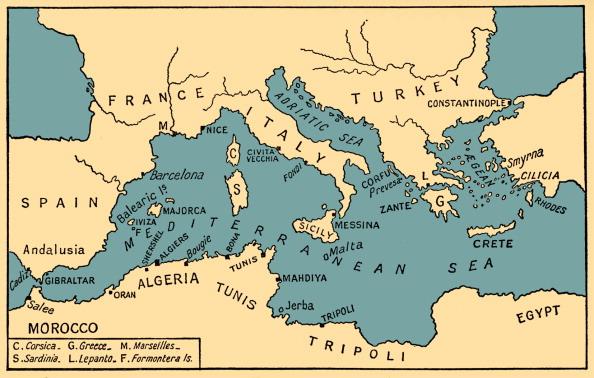 Mediterranean Sea「Map of Ancient Piracy and Barbary Corsairs」:写真・画像(1)[壁紙.com]