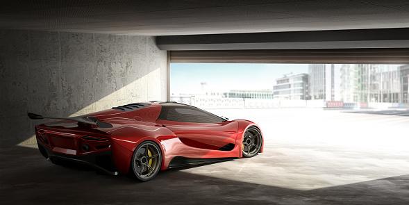 Aspirations「Red Sports Car In Open Door Garage On Bright Day」:スマホ壁紙(18)