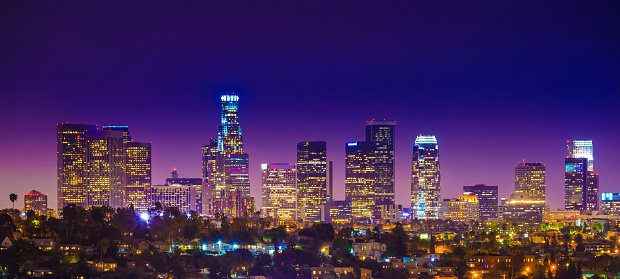 City Of Los Angeles「Los Angeles downtown skyscrapers skyline citycape panorama twilight night」:スマホ壁紙(4)