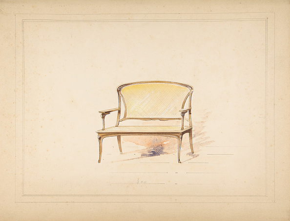 Furniture「Design For Art Nouveau Loveseat With Caning」:写真・画像(3)[壁紙.com]