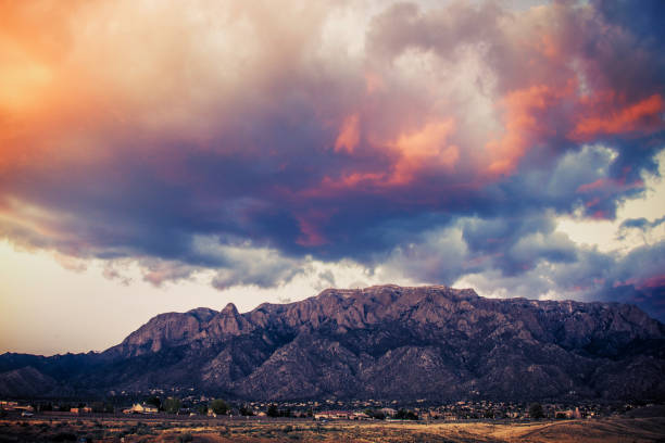 Sandia Mountains with Majestic Sky and Clouds at Sunset:スマホ壁紙(壁紙.com)