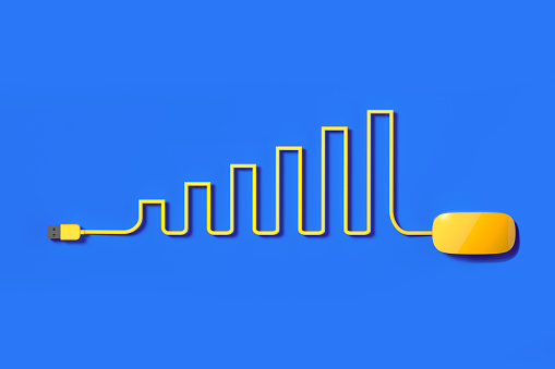 Cable「Yellow Mouse Cable Forming A Bar Graph On Blue Background」:スマホ壁紙(1)