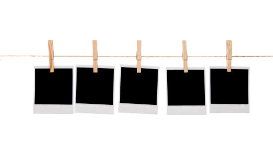 Printout「Blank instant photo prints on a washing line」:スマホ壁紙(10)