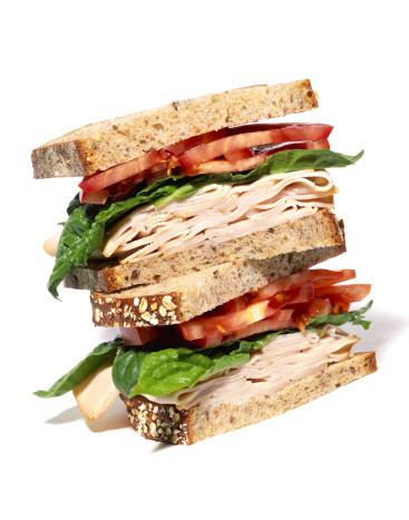 Sandwich「Layered turkey sandwich with lettuce and tomato」:スマホ壁紙(13)
