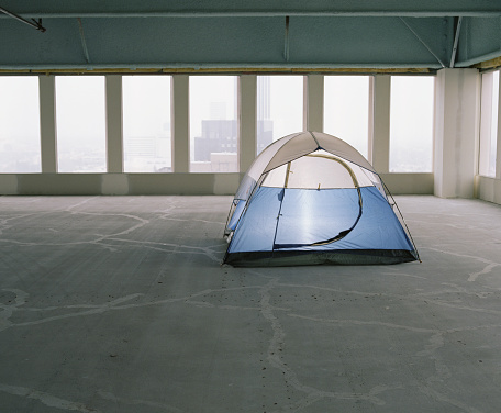 Tent「Tent set up in empty office space」:スマホ壁紙(15)