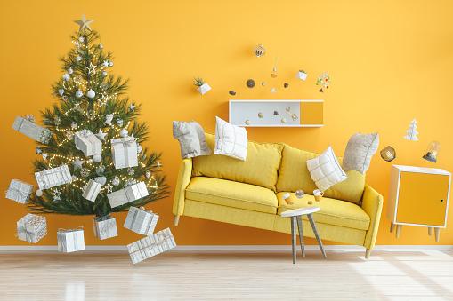 Earthquake「Gravity Concepts. Yellow Living Room with Christmas Tree」:スマホ壁紙(9)