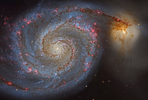 Supernova「The Whirlpool Galaxy (NGC 5194), and its companion galaxy (NGC 5195), in the constellation Canes Venatici.」:スマホ壁紙(16)