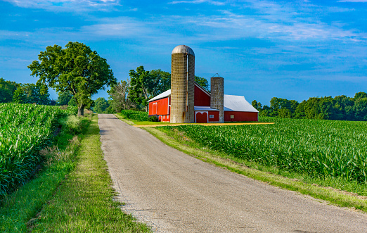 Agricultural Building「Midwest farm with country road and red barn (P)」:スマホ壁紙(14)