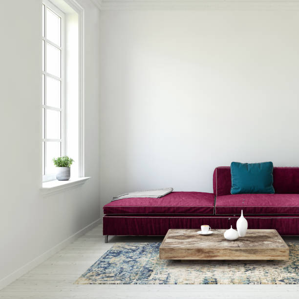 Pastel colored sofa with blank wall and window template:スマホ壁紙(壁紙.com)