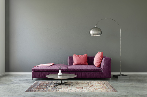 Bedroom「Pastel colored sofa with blank wall template」:スマホ壁紙(8)