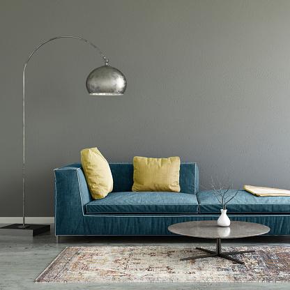 青「パステル カラーのソファ空白の壁テンプレート付け」:スマホ壁紙(14)