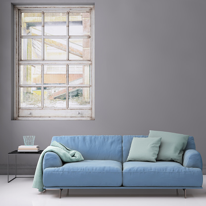 Clean「Pastel colored sofa with blank wall template」:スマホ壁紙(6)