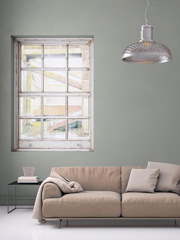 ピンク色「パステル カラーのソファ空白の壁テンプレート付け」:スマホ壁紙(0)