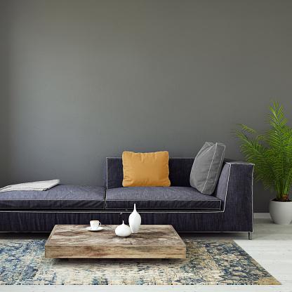 ピンク色「パステル カラーのソファ空白の壁テンプレート付け」:スマホ壁紙(5)