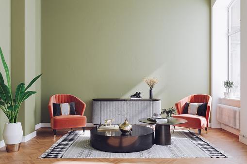 Velvet「Pastel Colored Modern Mid Century Living Room Interior」:スマホ壁紙(1)