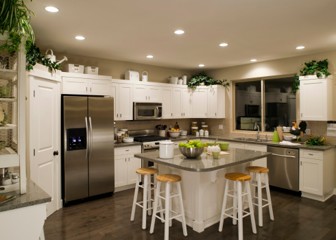 Wood Laminate Flooring「new modern kitchen home interior」:スマホ壁紙(9)