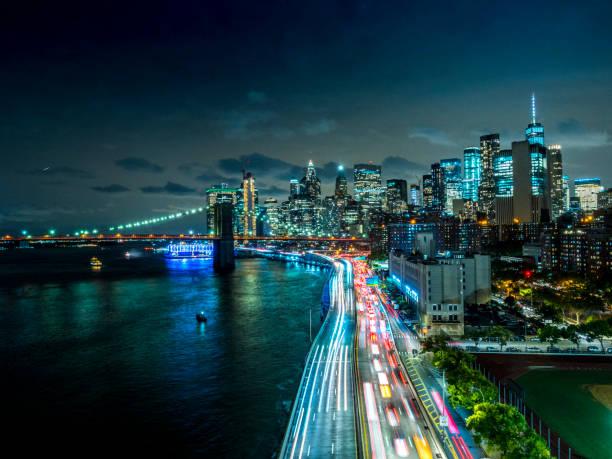New York Downtown skyline - Aerial View after sunset:スマホ壁紙(壁紙.com)
