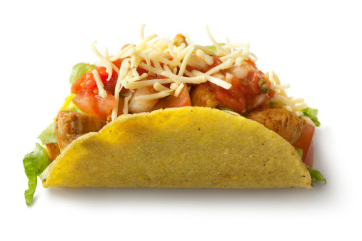 Taco「TexMex Food: Chicken Taco Isolated on White Background」:スマホ壁紙(10)