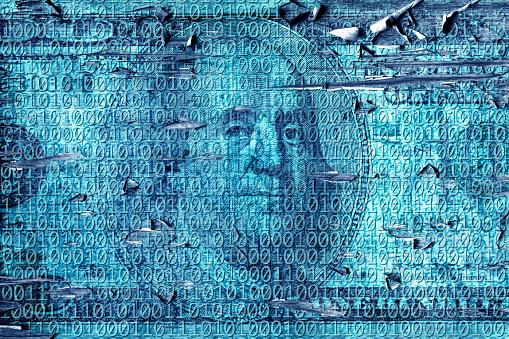 Zero「grunge style binary code of one and zero with American one hundred dollar bill」:スマホ壁紙(6)