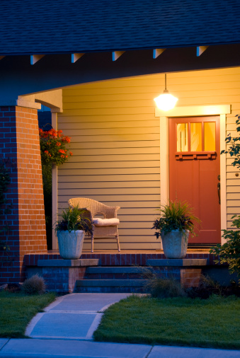 Bungalow「Close up , vertical, evening glow bungalow with porch and pathway」:スマホ壁紙(0)