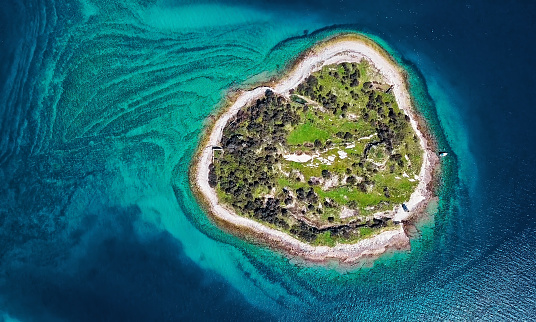 Uncultivated「Top aerial view of desert island, Brijuni park, Croatia」:スマホ壁紙(2)