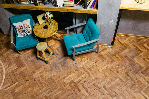 Real Life「Two turquoise colored armchairs and a coffee table」:スマホ壁紙(18)