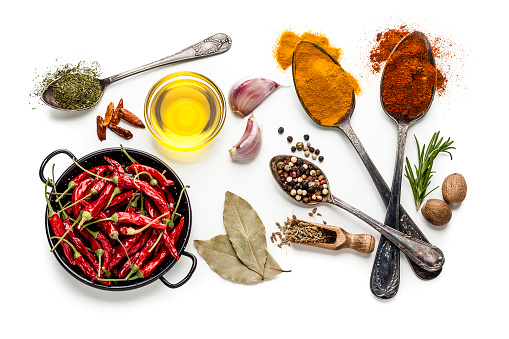 Recipe「Spices and herbs isolated on white background」:スマホ壁紙(6)