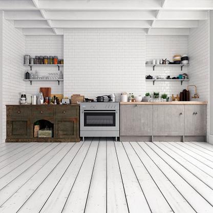 Front View「Empty classic kitchen」:スマホ壁紙(11)