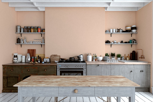 Pink Color「Empty classic kitchen」:スマホ壁紙(6)
