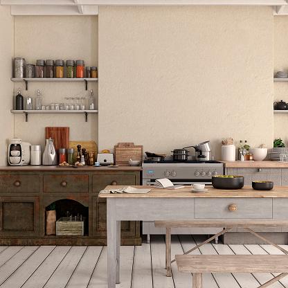 Classical Style「Empty classic kitchen」:スマホ壁紙(9)