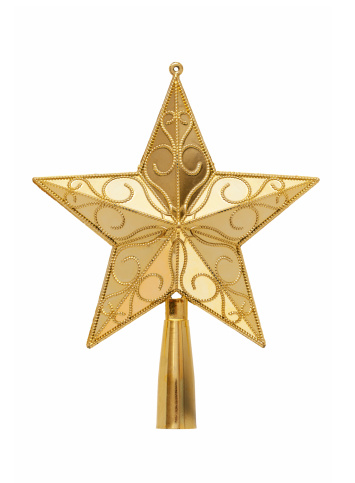 Star Shape「Gold tree topper (Clipping path!) isolated on white background」:スマホ壁紙(8)