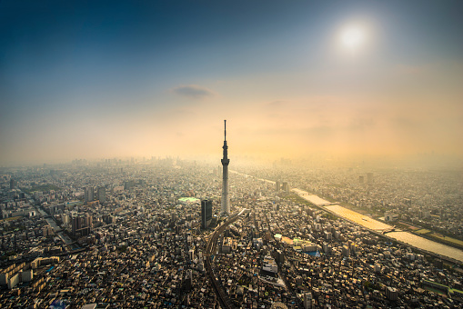 Tokyo - Japan「The Tokyo Skytree Tower from the air」:スマホ壁紙(16)