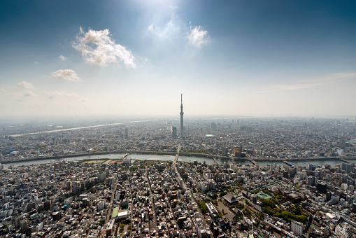 Aerial View「The Tokyo Skytree Tower from the air」:スマホ壁紙(8)