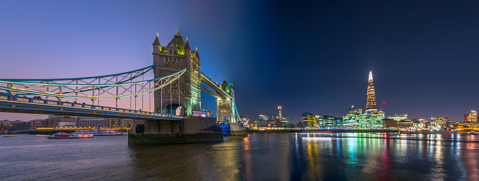 London Bridge - England「Tower Bridge in London transition panorama from day to night.」:スマホ壁紙(5)