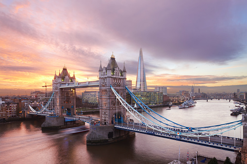 London Bridge - England「Tower Bridge and The Shard at sunset, London」:スマホ壁紙(1)