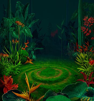 Tropical Flower「Surreal night jungle」:スマホ壁紙(19)