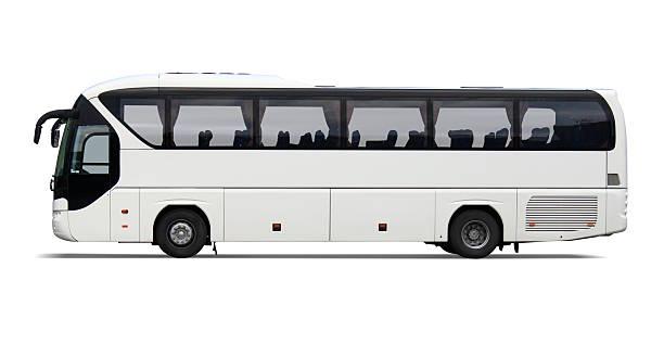 Empty white tour bus with no driver or passengers:スマホ壁紙(壁紙.com)
