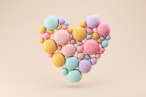 Sphere「Three dimensional render of floating heart made of pastel colored spheres」:スマホ壁紙(3)